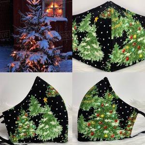Old Christmas Tree Designer adult face mask